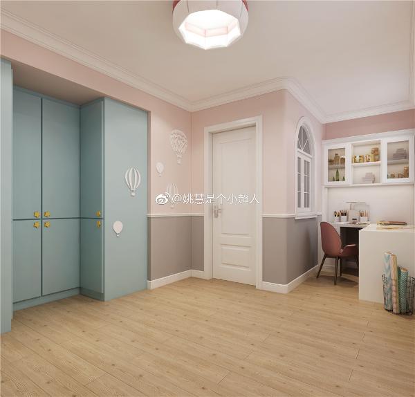 儿童房墙面用饱和度更低的粉色。定制柜体用温馨大气的婴儿蓝配上星星柜门抠手。体现儿童的纯洁,天真。