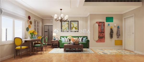 公共区域地面选用复古地砖,家具用黄绿撞色让空间稳重又活泼
