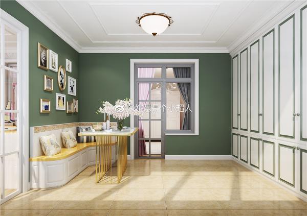 主卧休闲阳台:祖母绿色墙漆搭配金属休闲桌,现代时尚。女主人资深旅游博主,墙面为其设计了照片墙