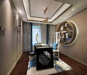新中式 混搭 简约 天元道 渝北 半包 全案设计 书房图片来自鹏友百年装饰在新中式美宅,太有美了!的分享
