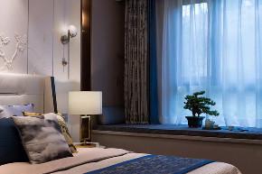 新中式 混搭 简约 天元道 渝北 半包 全案设计 卧室图片来自鹏友百年装饰在新中式美宅,太有美了!的分享