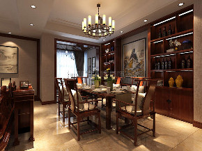 中式 中式装修 四居 西安装修 装修效果图 餐厅图片来自西安城市人家装饰王凯在普华浅水湾200平米新中式风格的分享