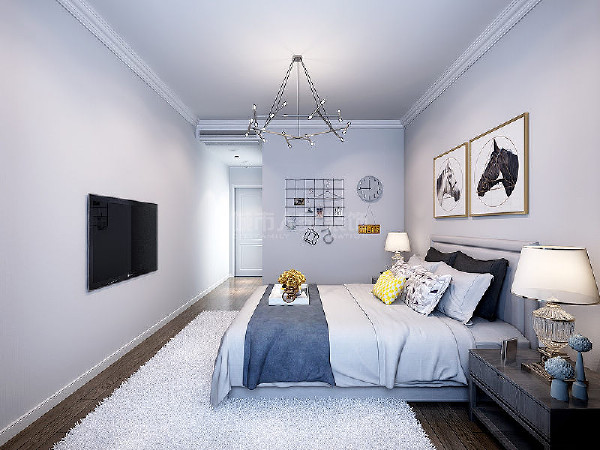 在明亮灯光的映照下,更加凸显出卧室内静谧与祥和的韵味。