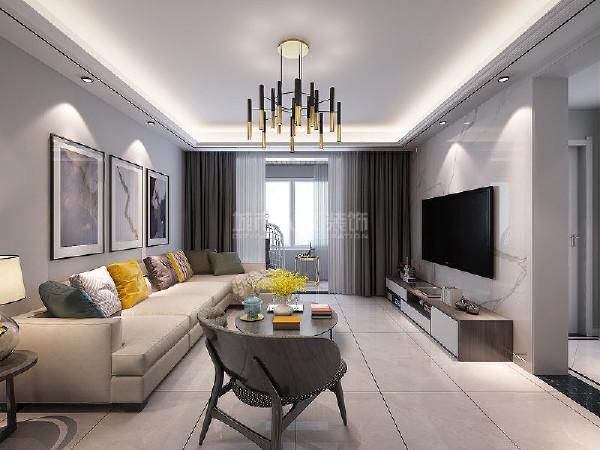 客厅布局简单大方,硬装和软装的设计相互结合,恰到好处,凸显了现代人化繁为简的生活方式。