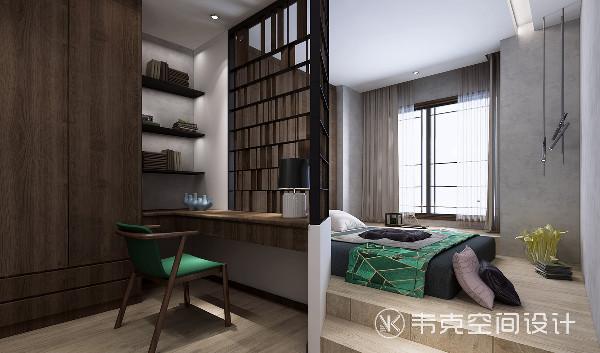 书房的书桌是延伸到墙角处的,设计师把每一处空间都充分利用起来,增加了收纳空间的同时,也为空间的美感锦上添花。