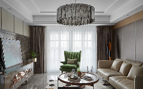客厅图片来自家装大管家在110平美式轻奢3居 安静时尚情调的分享