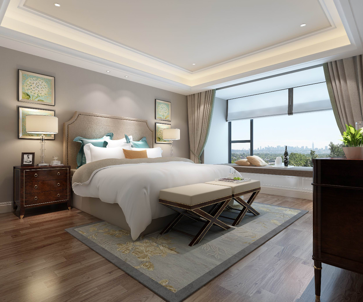 相比孩子房的注重装饰,主卧设计就显得相对简单,注重功能性,温馨的灯光,家长对于睡眠环境的要求更高。
