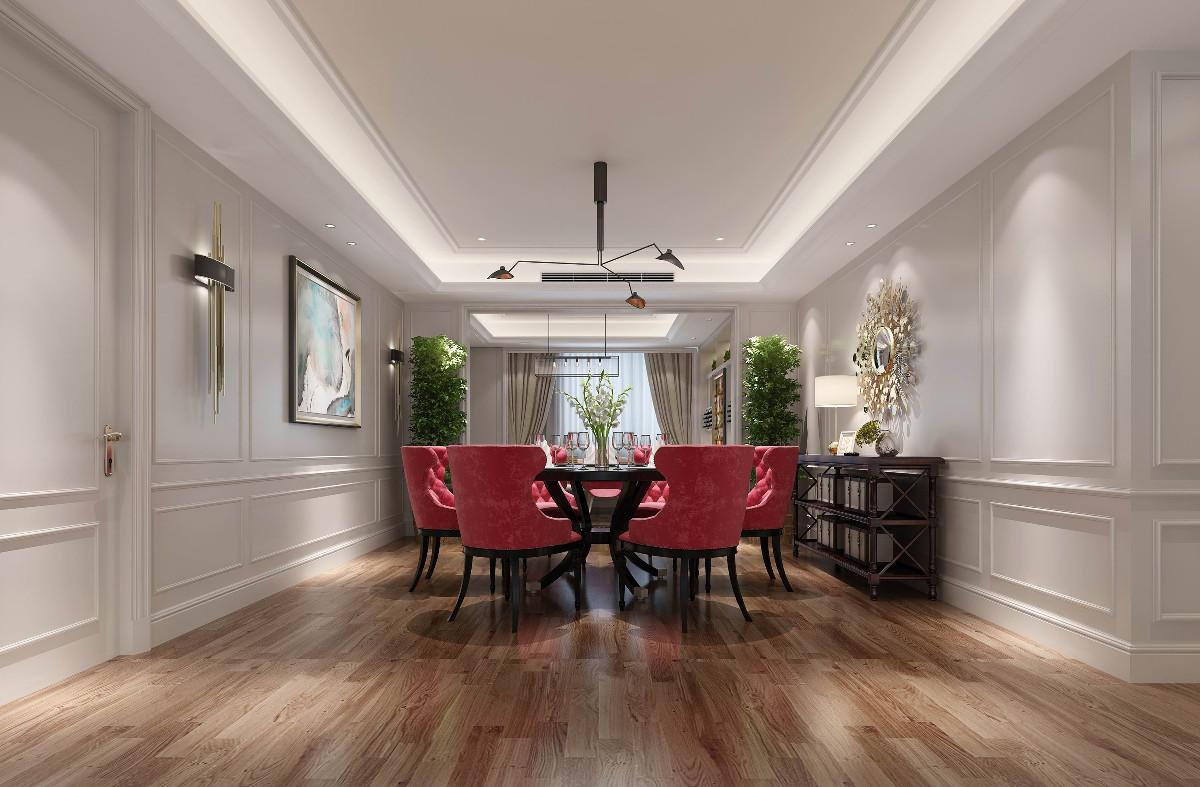 餐厅的桌椅十分有特色,玫红色的椅背吸引眼球,墙上的美式象征太阳样式的镜子,彰显着这个家的活力。