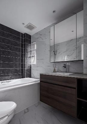 现代 混搭 全案设计 基装 重庆家装 卫生间图片来自鹏友百年装饰在黑白灰现代三室的分享