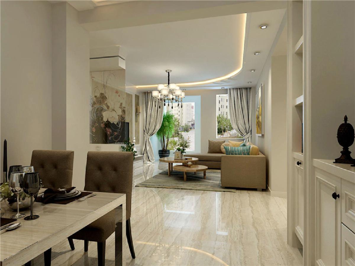 客厅的设计简单大气,每个空间都有设计点,在沙发棚顶做了单边的造型棚,边棚连接到过廊出使整个空间更有联动性,并巧妙的在转角处做了弧形的曲线造型处理,显得转角不那么生硬!