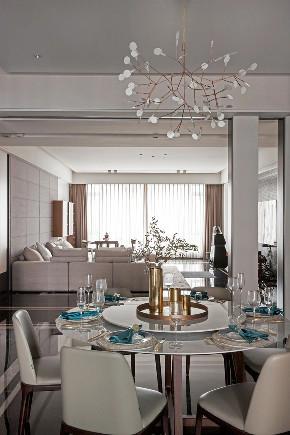 轻奢 混搭 重庆家装 全案设计 鹏友百年 餐厅图片来自鹏友百年装饰在优雅深灰蓝打造轻奢形制的分享