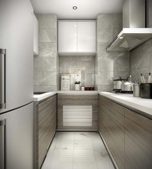 苍灰与卡里卡塔白的抛光瓷砖为狭长的厨房增添一分明亮,使烹饪更加愉悦。