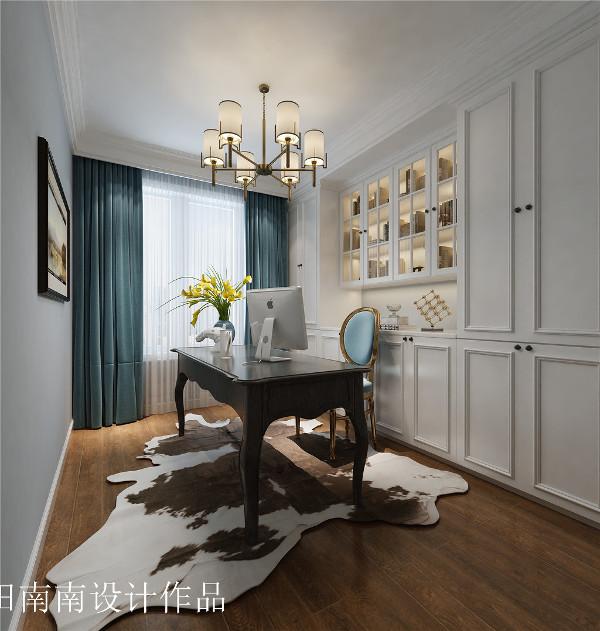 书房:采用和客厅蓝色搭配,清新淡雅,让人能静下心来读一本书,喝一杯茶。
