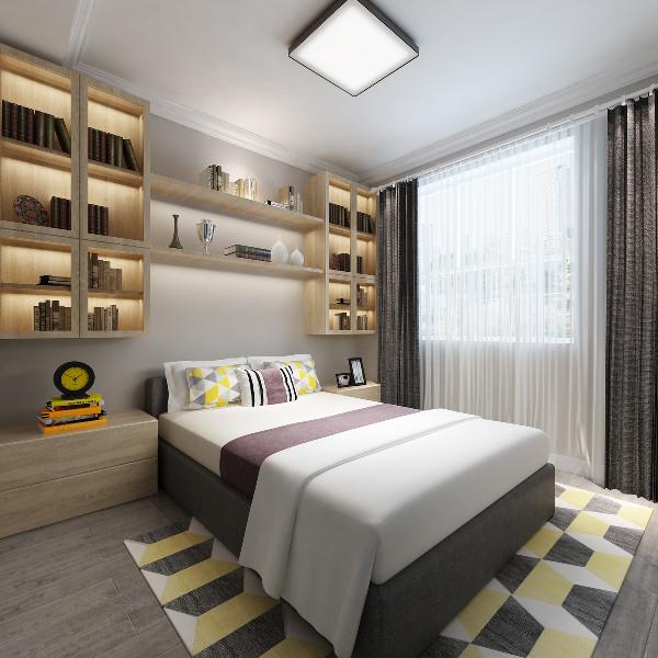 次卧室:次卧室与主卧室色调及风格保持一致,但在墙面定制了储物柜,增加了储物功能;
