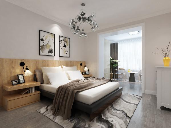 主卧室:地板选用灰色色调,是当下流行的冷色调,比较适合年轻业主;木地板上墙做的简约护墙板,在整体冷色调的基础上,又不失温馨的感觉。