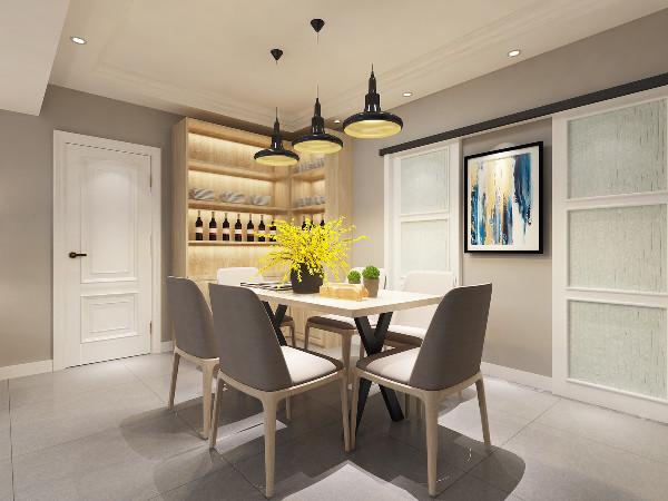 餐厅:餐厅墙面选用当下最流行的灰色,简单又大方。顶面做了回字形吊顶,筒灯的光源采用柔和的黄色光,照射在墙面上比白色光给人更有温馨的感觉