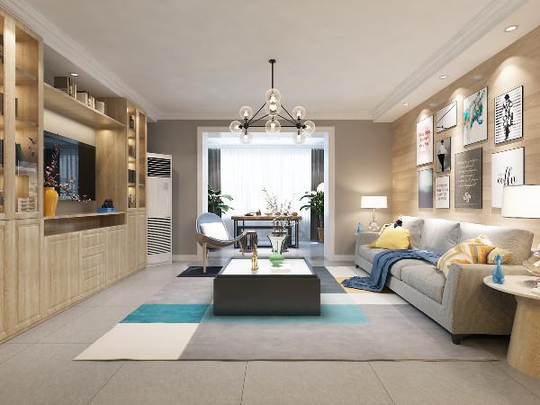 客厅:沙发背景墙采用木地板上墙效果,比传统的壁纸效果更加立体和真实;电视背景定制了一整面的储物柜,将储物及电视柜融为一体,既能满足必要需求功能又增加了储物空间。