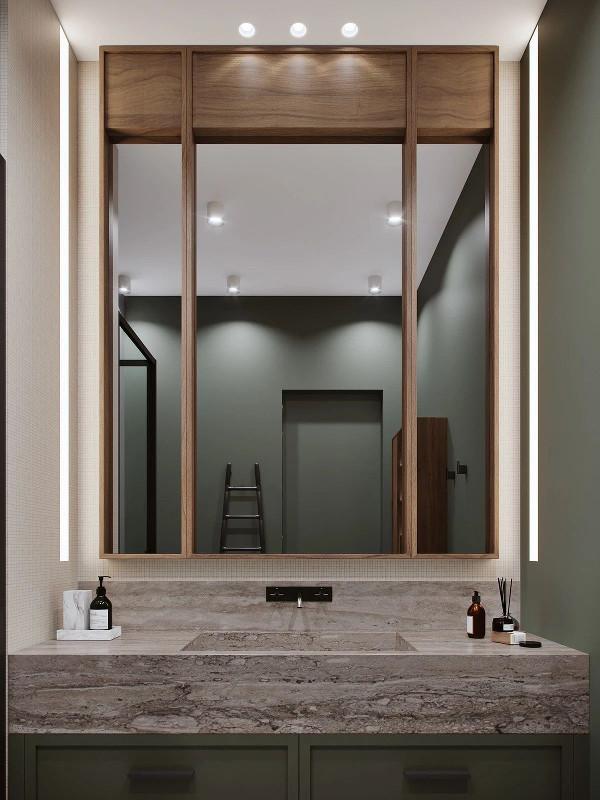 卫生间军绿色的背景 搭配原木、大理石材质 很有复古韵味
