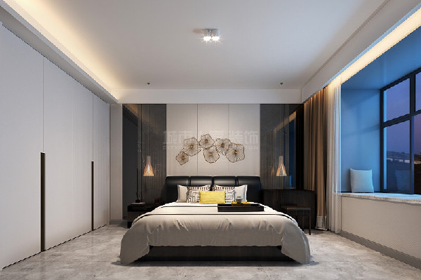 主卧沿袭了简洁大气的表达手法,选用与客厅相同的灰色墙布,时尚感十足。