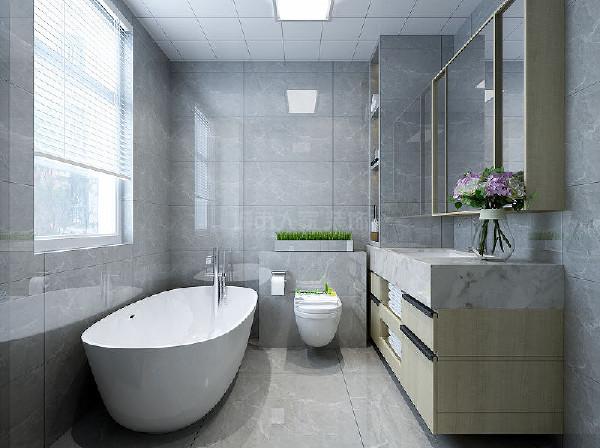卫生间以简约利落的材质铺叙与明亮大方的格局尺度,主要灰白为主,体现舒适优雅的生活态度。