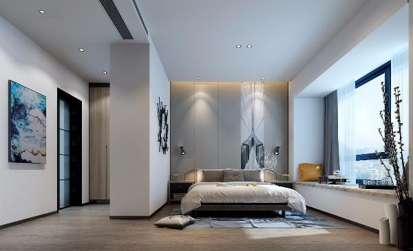 主卧利用柜子做出来一个空间的分隔,既化解了卫生间门对着床的禁忌,又使空间有各自的功能性。简单的吊顶和背景点缀,没有负担感。