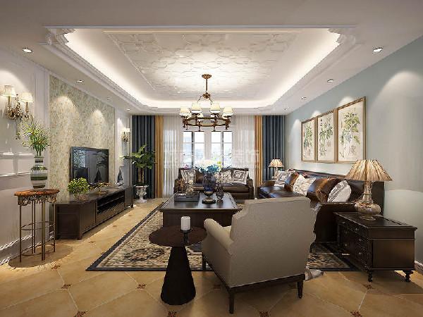 棕色的实木电视柜和茶几,加上同色系的窗帘,在这个温馨的空间里起到了很好的装点效果。