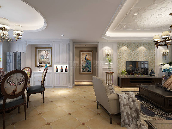 门厅的装饰画引人注目,是设计师的精巧用心。