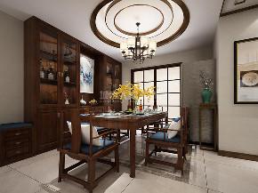 新中式 三居 西安装修 装修公司 中式装修 餐厅图片来自西安城市人家装饰王凯在新中式,漫步东方宁静生活的分享