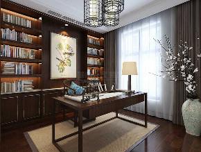 中式装修 西安装修 装修公司 大户型 中式风格 书房图片来自西安城市人家装饰王凯在245平中式,泼墨煮茶、梦阑酒下的分享