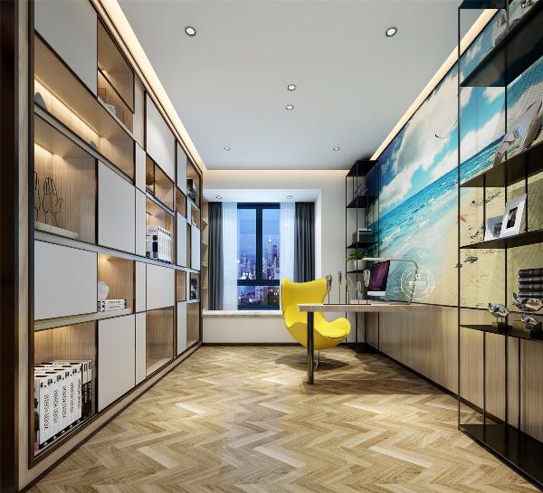 书房选择斜纹木地板铺贴,更显设计感。软装搭配跟随整体设计风格,书柜和书桌也加入了一些小巧思,时尚感满满!