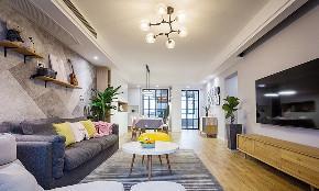 客厅图片来自家装大管家在130平现代北欧3居 清新舒适温暖的分享