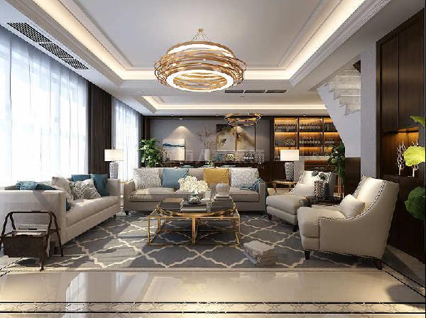 客餐厅一体,增加视觉纵深感,颜色上弱化沙发颜色,平稳过渡,墙面造型与收口部分增加黑胡桃重色过度,增加视觉上平稳感受。围合式沙发布局,方便互动沟通感受。