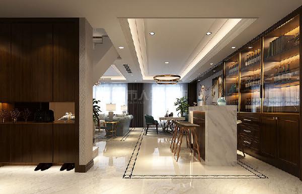 过厅处增设吧台,不仅是家人早餐简餐的位置,更是客人与主人互动的理想地点。