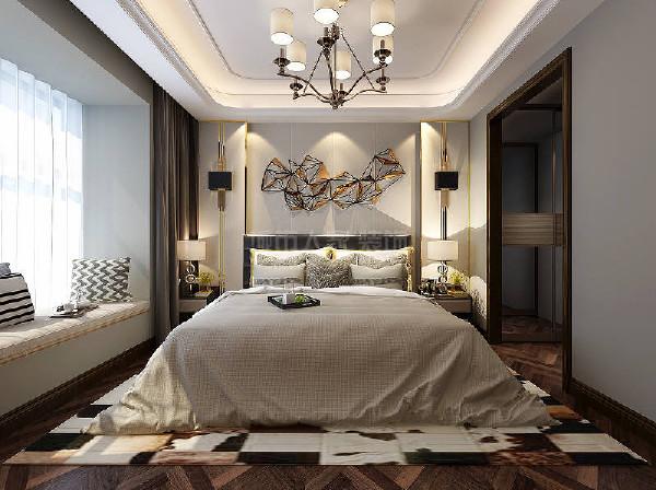老人房设置在一层位置,增加步入式衣帽间,床尾留出空白位置,增加活动空间。背景以及色彩设置朴素温馨,帮助使用者入眠。