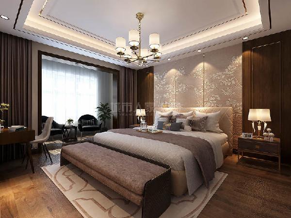 主卧主体色彩沉静,光线柔和,视觉上以适中的线条和平面装饰来缓和主人情绪,帮助达到舒适安静的睡眠条件。