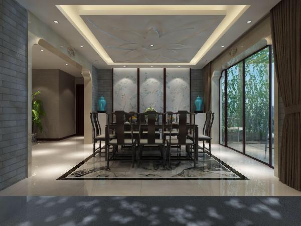 从客厅通过一个台阶进入到餐厅,首先映入眼帘的是几个丝绸制的屏风,其中一扇为活动,推开一扇为厨房,即隐蔽又完整。餐厅的顶面为荷花瓣的造型,象征着家庭和睦完美的向往和期待。