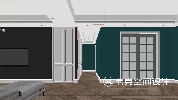 过道正对着玄关,设计师在客厅与过道的转角处安置了玄关鞋柜和衣柜,在充分满足业主的收纳需求的同时,柜体颜色与墙体颜色做了一个跳色的对比,避免了空间的颜色过于单调,让人有了一个视觉上的冲击。