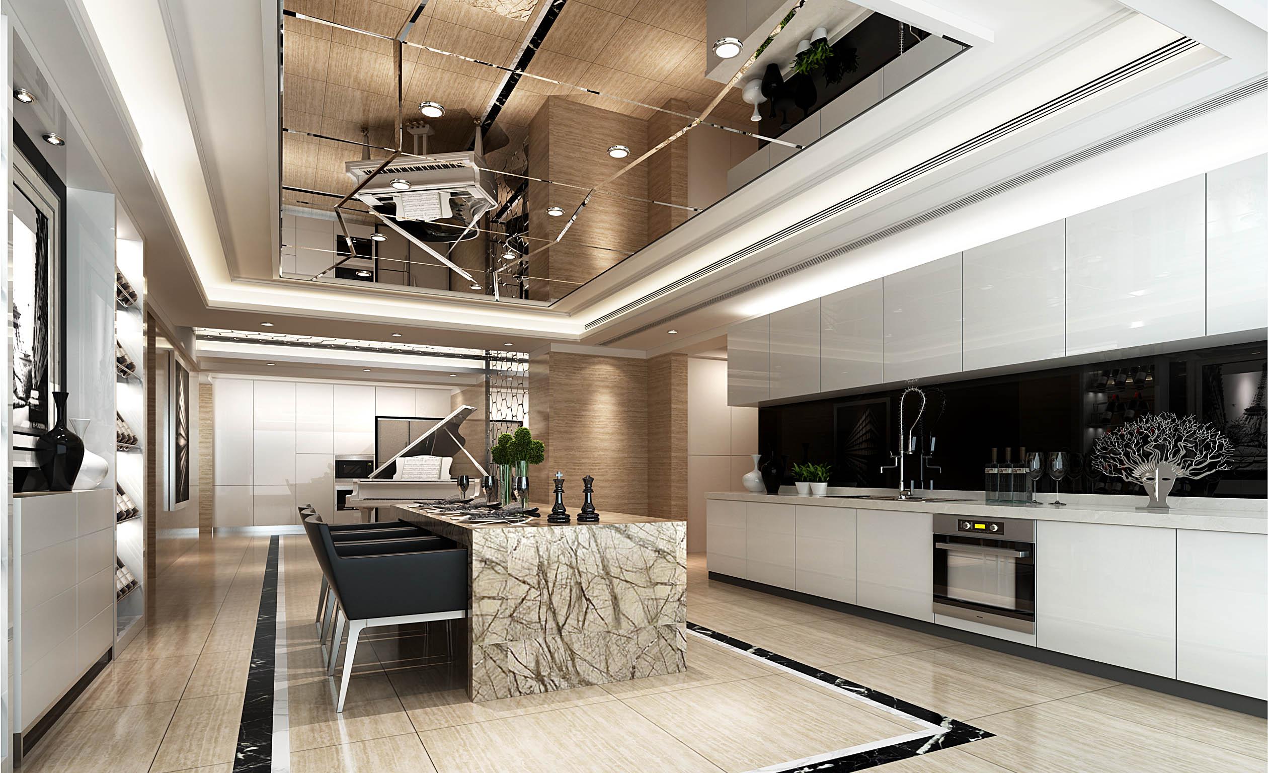 开放式厨房 镜面吊顶 吧台图片来自几墨空间设计在几墨设计 | 摩登未来的分享