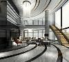 客厅非常具有超现代,半弧形挑高的超大落地窗极具都市奢华