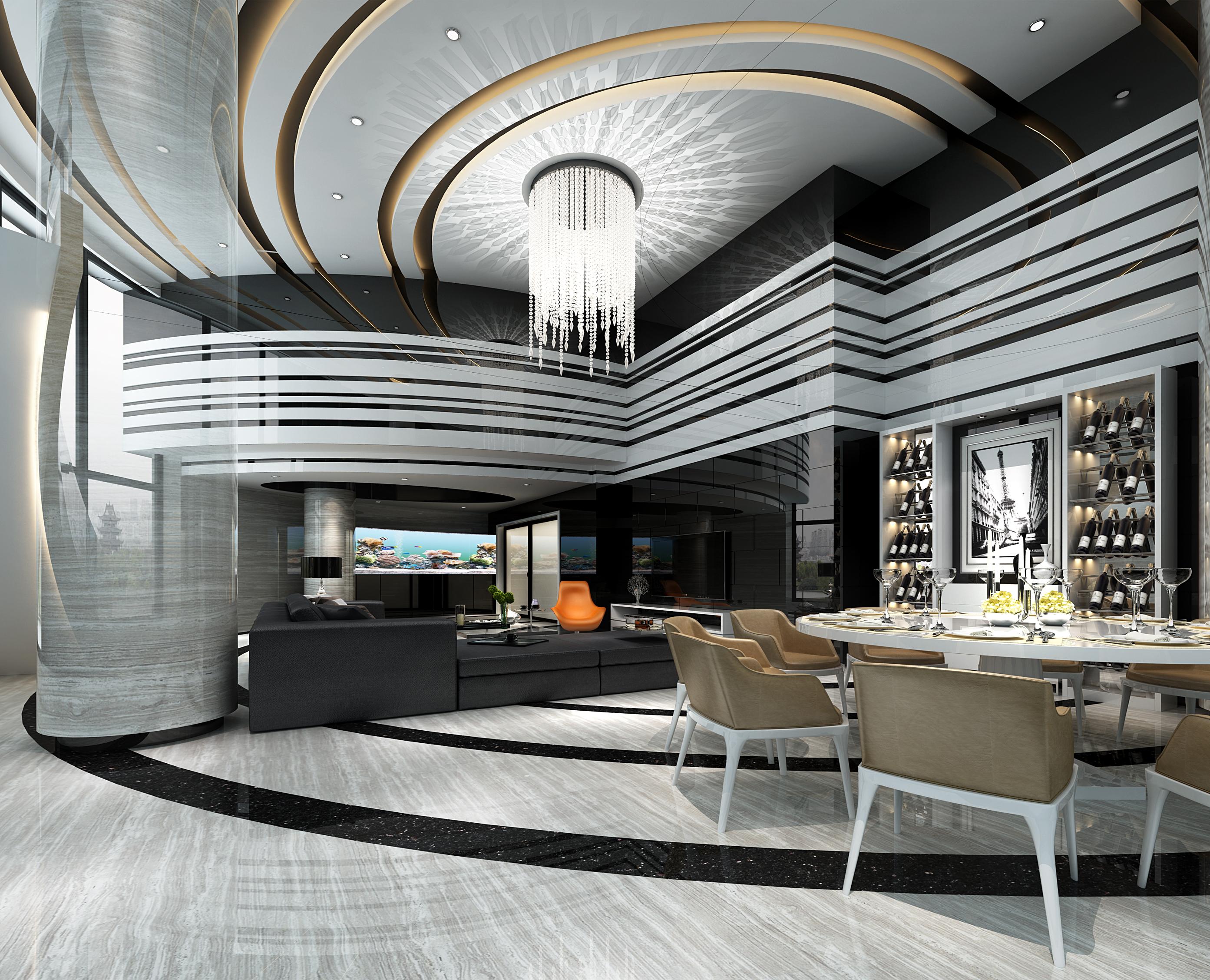 客餐厅 摩登 水景吊灯 轻奢 奢华图片来自几墨空间设计在几墨设计 | 摩登未来的分享