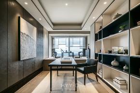 新中式 大平层 书房图片来自郑鸿在新天鹅堡私宅设计|轻奢新中式的分享