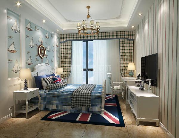 清爽活泼的蓝色调,宽敞完备的空间设计,更符合小男孩的日常生活所需。