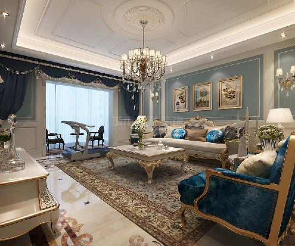 欧式经典皮艺沙发组合,搭配欧式白色长形茶几与电视柜,再加上时尚水晶吊灯,整个房间充满创意与欧式风情。