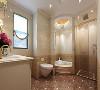 卫生间墙面采用800*400加工砖,清爽整洁,选用多柜体的台盆柜非常实用,收纳功能强大。