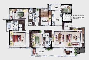 四居 现代 户型图图片来自快乐彩在城阳246平大平层典雅高级灰的分享