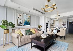客厅图片来自家装大管家在自由与贵气 96平美式轻奢两居室的分享