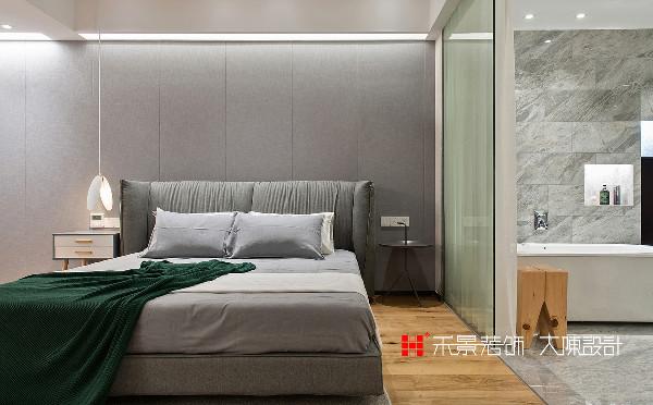 卧室在空间气韵的把控上,大量运用灰色调,营造简约优雅的意境,灰色本身使人感觉安静、平和,同时又具有优雅、神秘的魔力。
