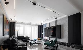 客厅图片来自家装大管家在时尚年轻 118平黑白现代简约3居的分享