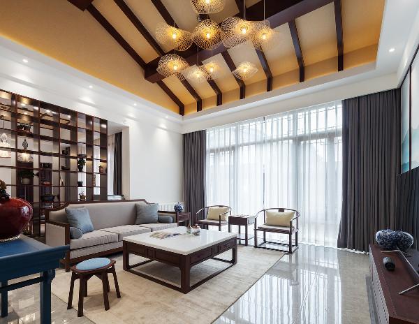 客厅和餐厅之间去掉原有隔墙而改为现代手法的博古架,使空间通透的同时也使空间富有中式的韵味。大面积的留白,白描、水墨的清雅,富有竹子情韵的现代灯饰,于简约中散发出浓烈的中式人文情怀。