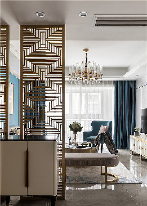 玄关图片来自家装大管家在简洁舒适 120平现代轻奢雅致3居的分享